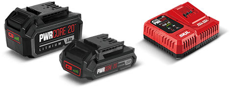 A variety of SKIL PWRCore X batteries
